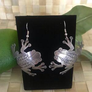 Native American Sterling Frog Earrings